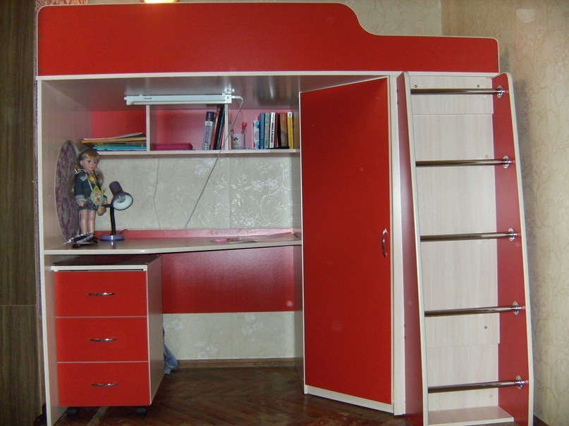Детские кровати-чердаки, двух-ярусные, мини - мебель и предм.